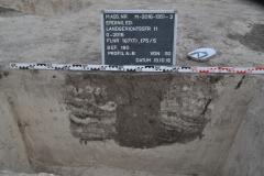 Mittelalterliche Pfostengrube mit Kernschatten