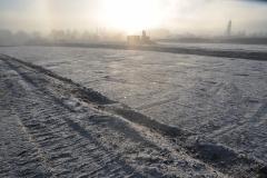 Winterliche Stimmung beim Oberbodenabtrag